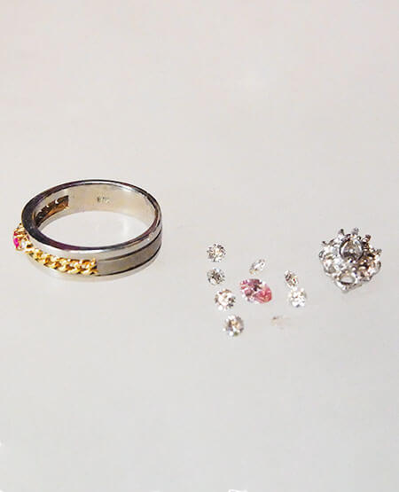 プラチナ、ピンクダイヤ、リング