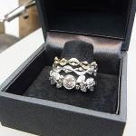 三本カットリング プラチナ、18金ダイヤを使用。